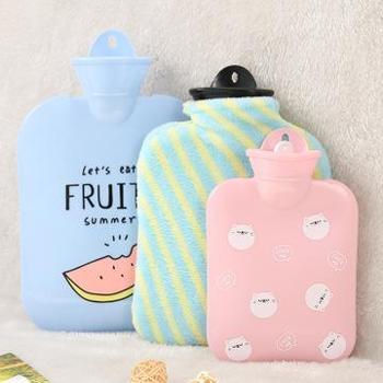 (日常居家生活用品)注水热水袋毛绒可爱迷你灌水暖手袋暖手宝防爆橡胶暖宫暖水袋
