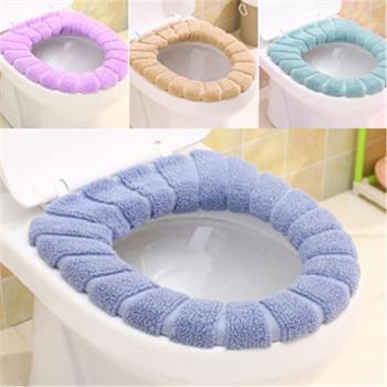 (日常居家生活用品)四季款素色O型马桶垫浴室柔软南瓜纹保暖马桶圈通用马桶套