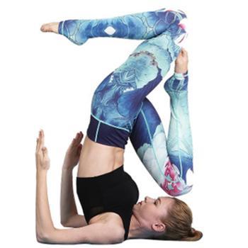 瑜伽裤女水墨印花运动服修身瑜伽健身裤长裤