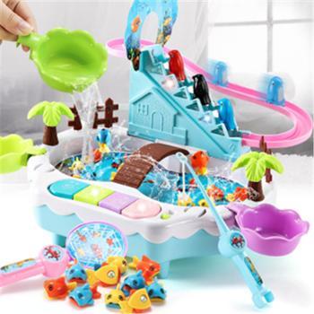 童玩具钓鱼池充电动爬楼梯1-2-3-4周岁宝宝益智戏水玩具鱼磁性