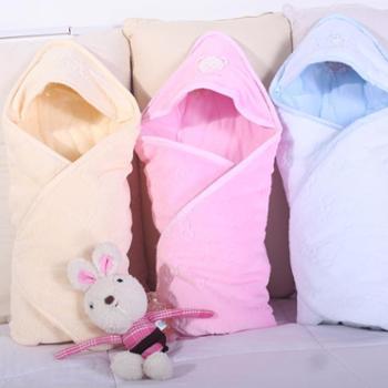 小榕树壮壮压花珊瑚绒婴儿抱被宝宝包被抱巾新生儿抱毯