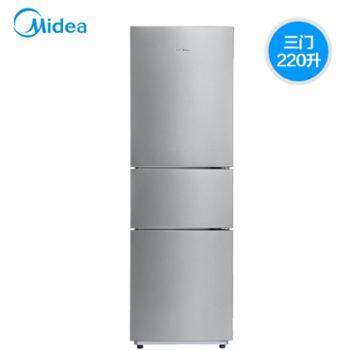 美的220L升三门冰箱BCD-220TM家用直冷节能静音电冰箱星际银