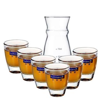 乐美雅白酒杯烈酒杯吞杯茅台杯50ml厚底白酒杯6支装+分酒器