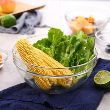 乐美雅透明可叠钢化玻璃碗汤碗面碗瓜果蔬菜碗创意水果沙拉碗23cm