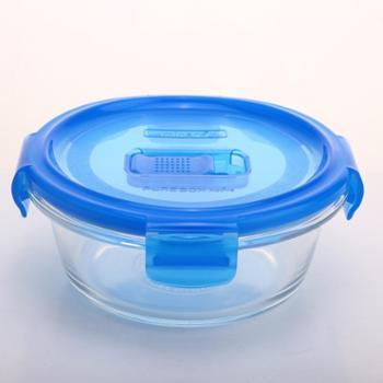 乐美雅纯净全钢化玻璃保鲜盒圆形便当盒200ML-L0391
