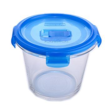 乐美雅钢化纯净玻璃圆形保鲜盒840ml-L0820