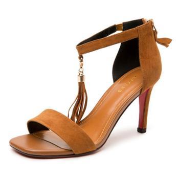 奥康女鞋 2018夏季新款露趾细跟一字扣时尚流苏潮流凉鞋女通勤