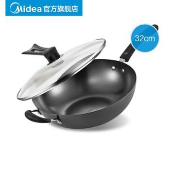 美的铁锅老式家用炒锅无涂层锅子电磁炉燃气灶适用大炒菜锅具专用CT32A4