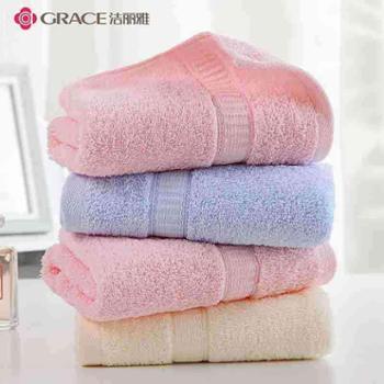 洁丽雅纯棉吸水锻档毛巾6717一条装