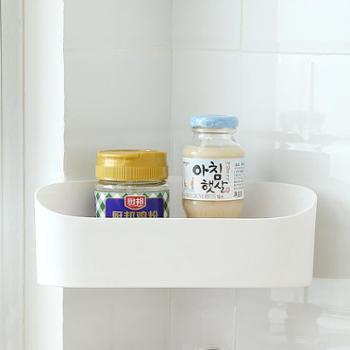 【苏宁极物】吸壁式 浴室 9.5*9.5*24 三角形置物架
