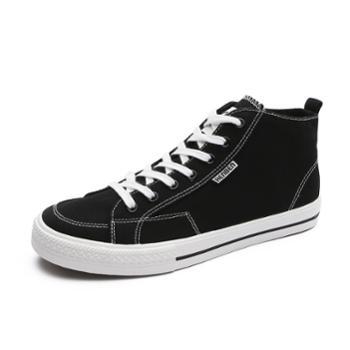 人本高帮男鞋秋季潮鞋新款韩版潮流百搭板鞋子网红高邦帆布鞋