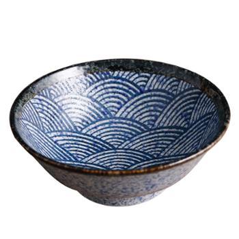 日本进口爱悦烧青海波釉下彩碗盘碟日式鱼盘和风长方盘陶瓷餐具套装家用