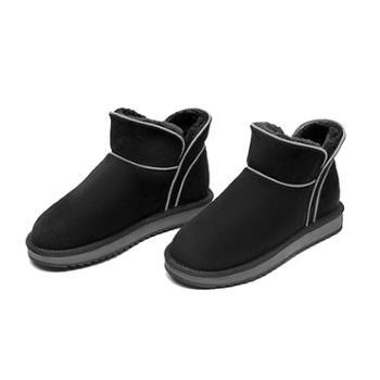 奥康女鞋 时尚简约纯色加绒加厚雪地靴厚底短筒女196026095