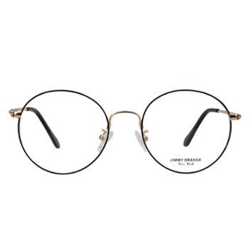 Jimmyorange近视眼镜框男金属圆框光学眼镜架黑金BK
