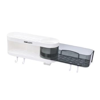 喜家家 厨房卫生间置物架免打孔旋转洗手台墙上收纳架 灰白