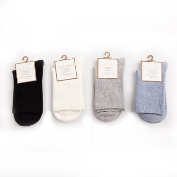【苏宁极物】里起毛蓄热女短袜(中筒)黑色+本白+浅灰+浅蓝