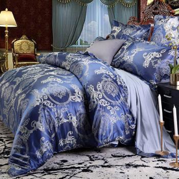 凯诗风尚家纺 丝绵提花时尚印花双拼四件套 双人亲肤床上用品