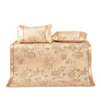 凯诗风尚精品冰丝席三件套舒适透气凉席富贵花开