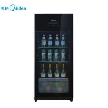 美的酒柜JC-145GEV黑色亚光145升时尚外观玻璃吧台家用型酒柜