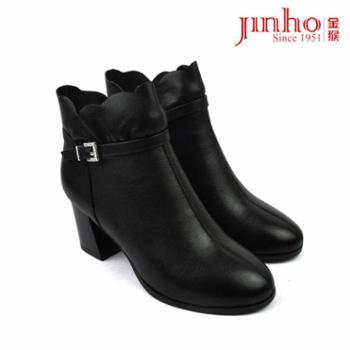 金猴女鞋460179A真皮女短靴