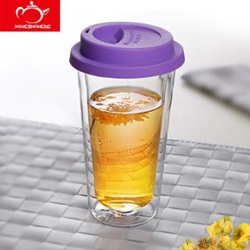 明尚德双层办公玻璃茶杯400ml(1只装)