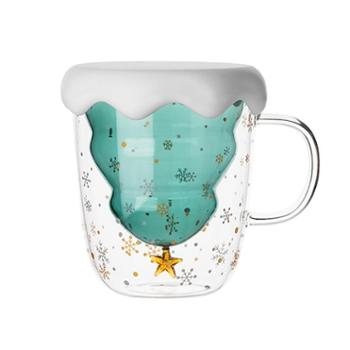 明尚德双层星星圣诞树耐热玻璃杯抖音网红水杯情侣办公室星愿杯