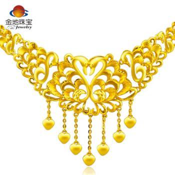 金地珠宝足金项链黄金项链女款天鹅之吻套链纯金女士项链送礼自用结婚礼品