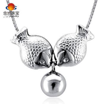 金地珠宝S925银项链接吻鱼项链