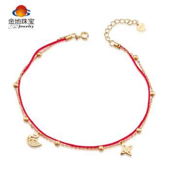 金地珠宝925银镶合成立方氧化锆芭蕾天鹅红绳脚链
