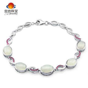 金地珠宝925银镶和田白玉手链鱼形圆玉手链分A/B/C三款银镶合成立方氧化锆手链