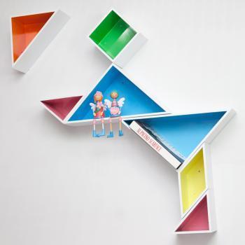 自由色彩 烤漆七巧板壁架 电视背景墙壁架 隔板/置物架