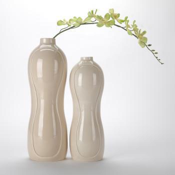 长城瓷艺陶瓷裸色花生型花瓶花插一套两个