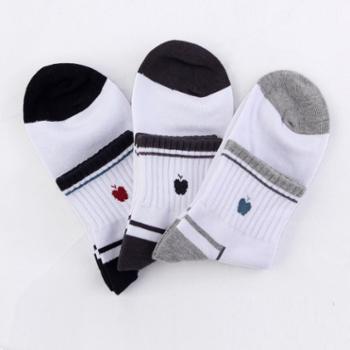 苹果牌休闲运动袜 男袜 吸汗袜 棉袜 高品质袜子 厂家直销 12双(0610款)