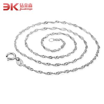 钻金森925纯银水波纹项链女短款韩版时尚百搭银项链子