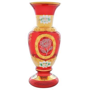 红海玻璃花瓶人工吹制工艺品艺术品礼品摆件家居饰品