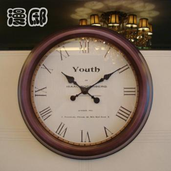 漫邸装修欧式复古铁艺挂钟个性渐变边框客厅大钟表创意罗马墙钟