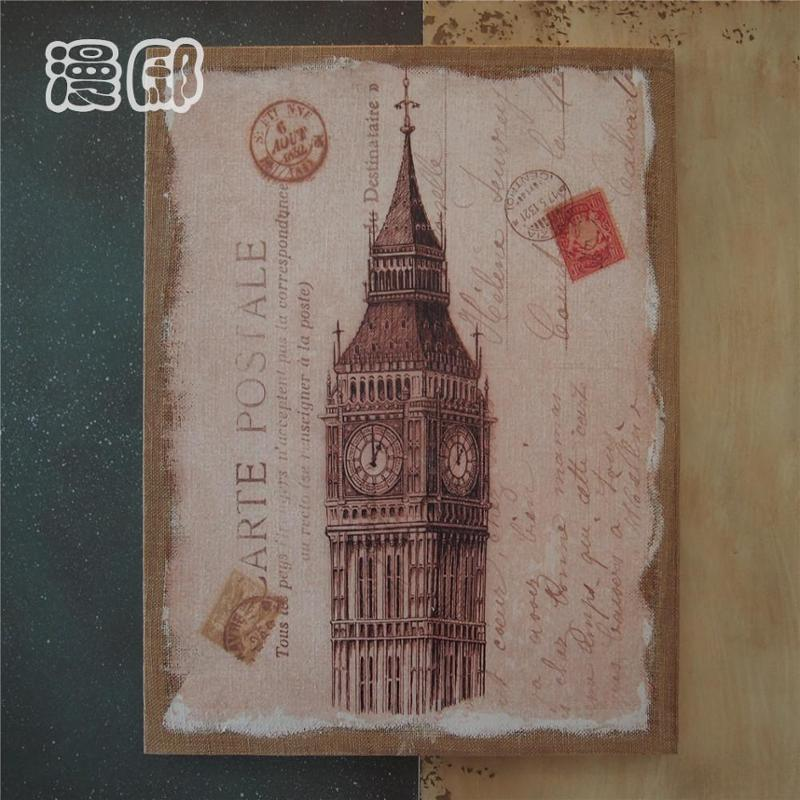 欧式复古风格英国大笨钟麻布画框手作木质挂画家居饰品装饰画墙画