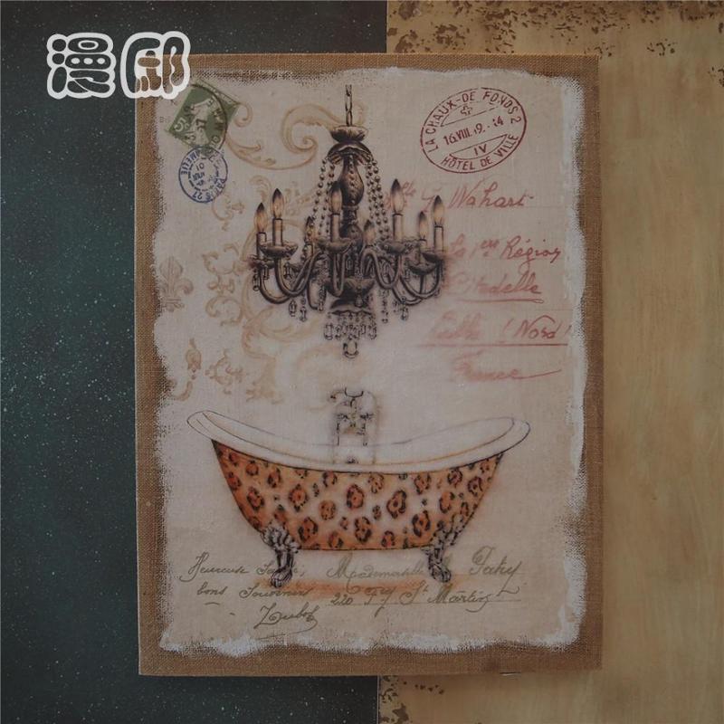 简欧复古风格粗麻布水彩手工木质麻布画框装饰画个性