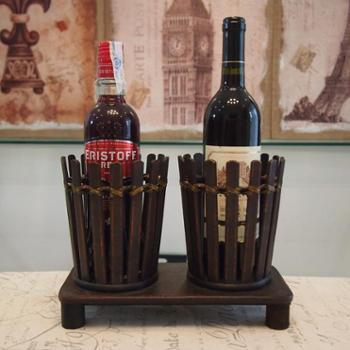 美式复古手工竹编木质酒架个性创意葡萄酒架酒吧酒柜家居饰品摆件