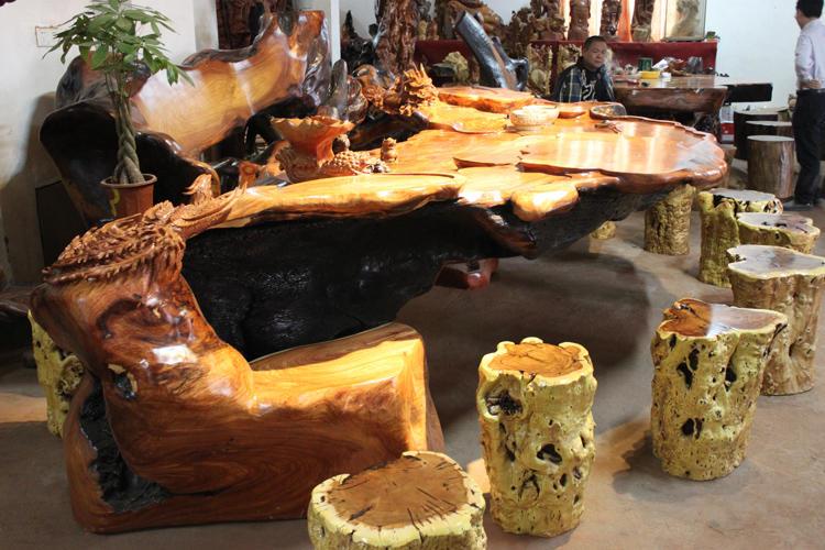 极品根雕茶桌 树根茶台天然老挝花梨根雕茶几 纹理勘比海南花梨