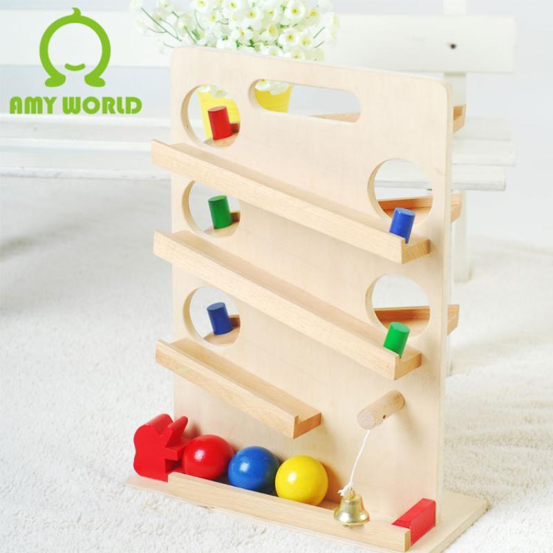 玩具 益智早教滚球滑道儿童木制益智游戏