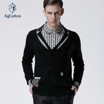 阿科登秋冬新款英伦时尚撞色纯羊毛翻领男士修身开衫包邮