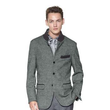 阿科登男装外套品质羊毛罗纹立领时尚男士单排扣休闲秋冬男装外套