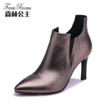 FORESTPRINCESS/森林公主尖头套脚坡跟女鞋欧美风牛皮时装靴