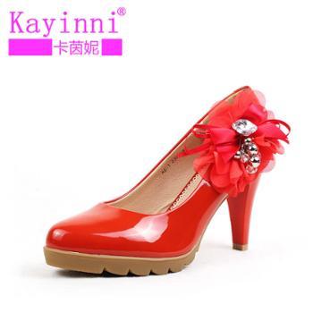 卡茵妮 花朵小圆头坡跟凉鞋 舒适的鞋子上班鞋