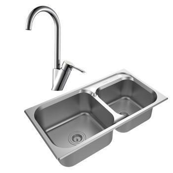 【hona宏浪】水槽 优质304不锈钢手工打造 含全铜厨房龙头 HZ1047