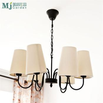 北欧乡村风格 装饰铁艺黑色吊灯 餐厅客厅卧室书房艺术温馨灯具