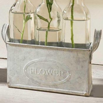 zakka田园风格 水培玻璃透明插花花瓶花器 桌面装饰摆件4件套