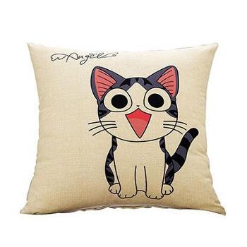 凯舒卡通抱枕白底白猫