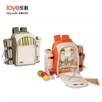 【橙屋】乐游(LOYO)野餐包KC-24Y/G情侣二人组野餐包保温包户外旅行包软体冰箱冰包带野餐垫野餐毯KC-24Y/KC-24G特价